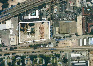 An arial shot showing the proposed site.