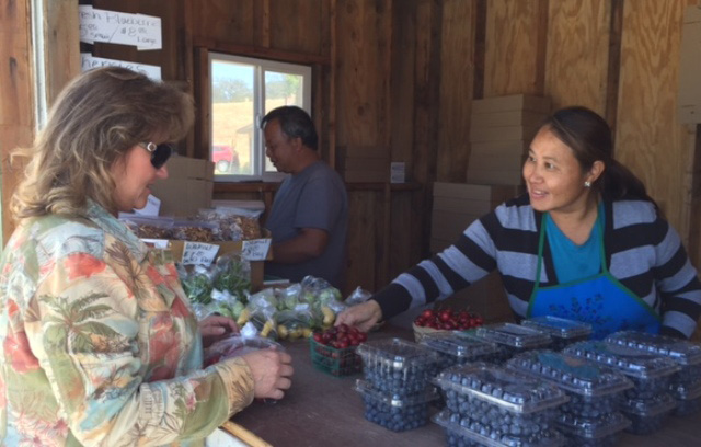 Chan and Meui Saelee, farm stand, Paso Robles