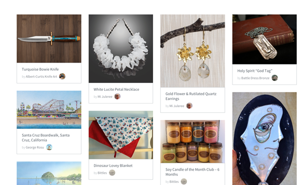 Some of the arts and crafts for sale on the new site.
