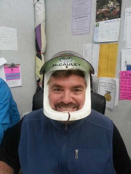 """Mark Clement loves science and has been fascinated with all things flying and space related since he was a little boy. This is his play space helmet from childhood he likes to wear during his space unit in Agriculture Earth Science class,"" said Heather Clement."