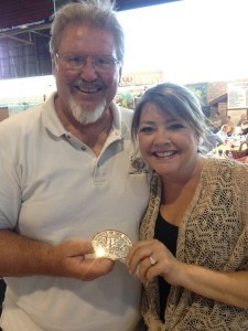 Gary and Marcy Eberle holding their award for Eberle Winery as the 2013 Winery of the Year.