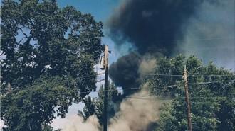 A home burning on Park Street i