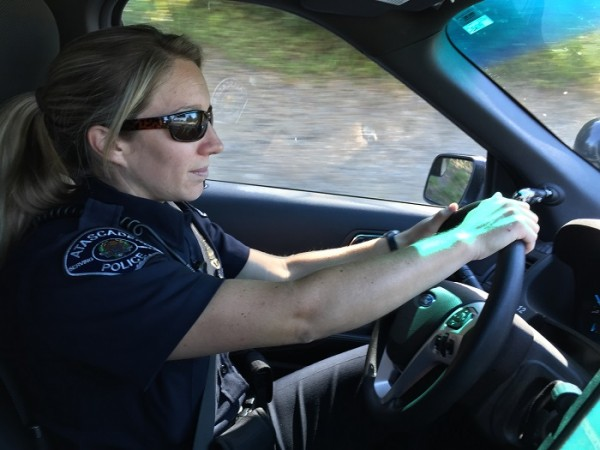 Atascadero Police Officer Kellye Netz on duty Sunday.  Photo by Paula McCambridge