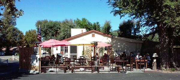 AJ's outside patio dining area.