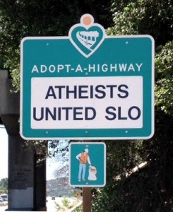 The Atheists United sign before it was defaced.