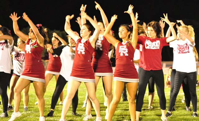 The PRHS cheer and dance teams perform during half-time.