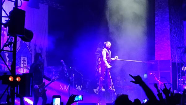 Manson performed on stilts like a spider for a portion of the concert.