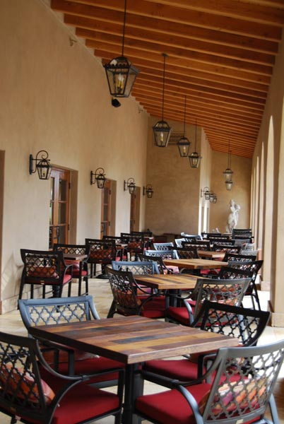 The outdoor dining area at Cello.