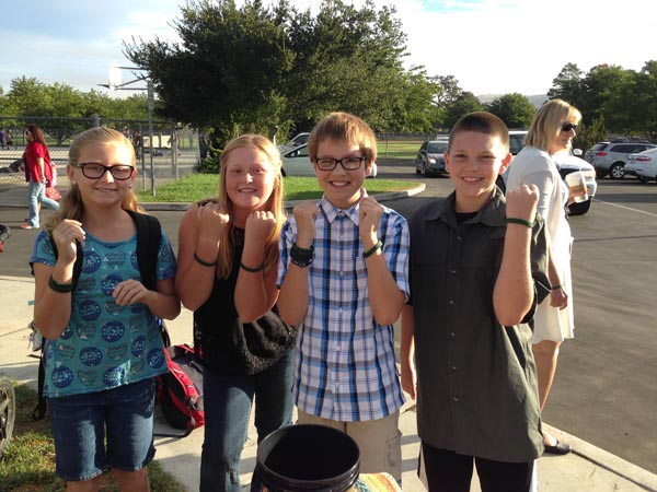 "Students at San Benito sporting their ""Team Josh"" bracelets. Courtesy photo."