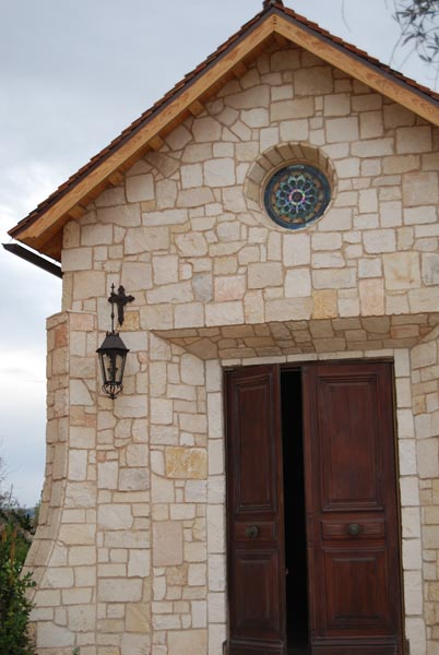The resort has a small, outdoor chapel on the property, complete with exposed wooden beams and stained glass.