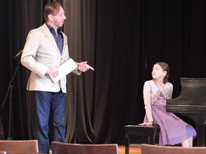 Piano competition winner Sarah Girges recieves feedback from master pianist