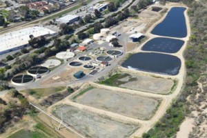 An overhead shot of the wastewater treatment plant.