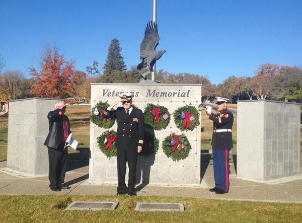 Ron Waltman, Chaplain Houston and Sgt. Galvan at Saturday's Wreaths Across America ceremony. Photos by Jackie Iddings.