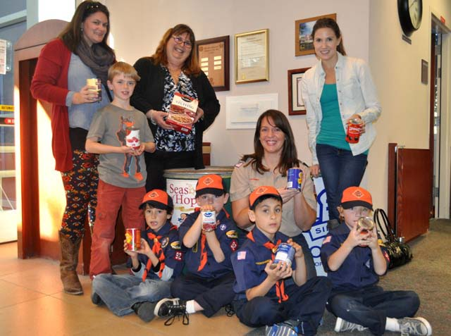 Pack 92 Tiger Cub Den, Paso Robles City Library, Can Your Fines, Library Manager Karen Christiansen,  Meagan Friberg