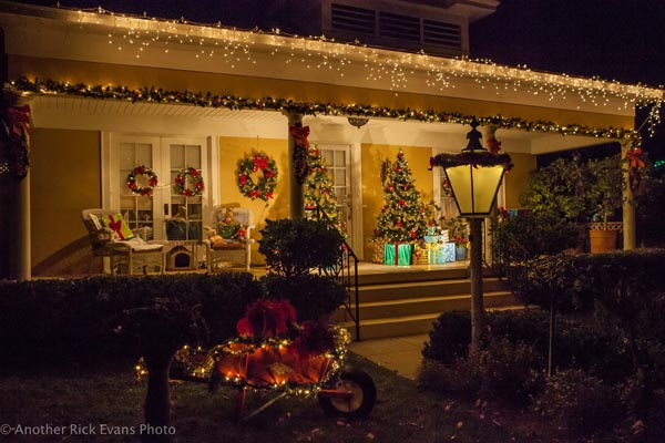 Within the 13-block area all of the homes, offices and schools were beautifully decorated and lit.
