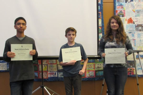 DAR essay contest participants Cappy Culver School