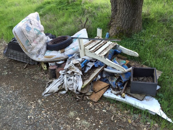 Pile of illegally dumped trash on Moss Lane