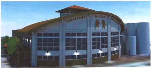 Firestone is proposing a new glass front facade with a barrel-vaulted roof that will showcase the brewing equipment.