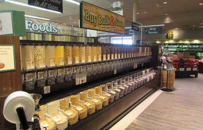 The new store has three aisles of bulk food items.