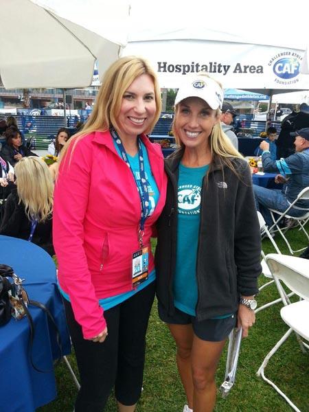 Matthews supporting Heather Abbott  who lost her leg at the 2013 Boston Marathon bombming, at the Challenged Athletes Foundation Triathlon.