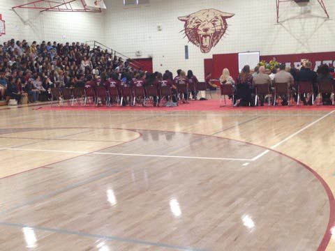 During the assembly friends, classmates, and parents of the victim read letters to the student body.