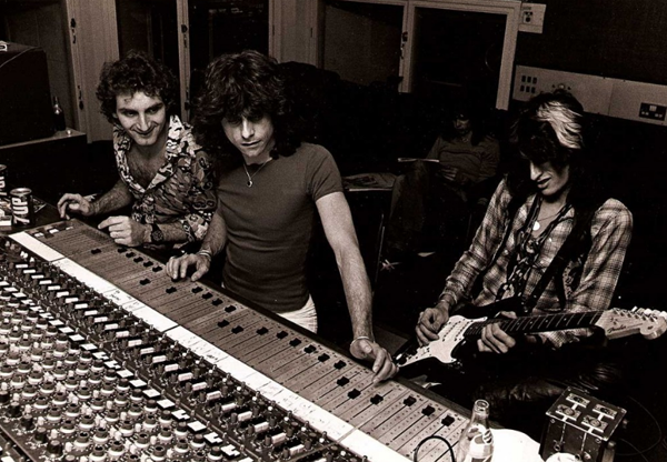 Joe Perry in the recording studio working with Aerosmith.
