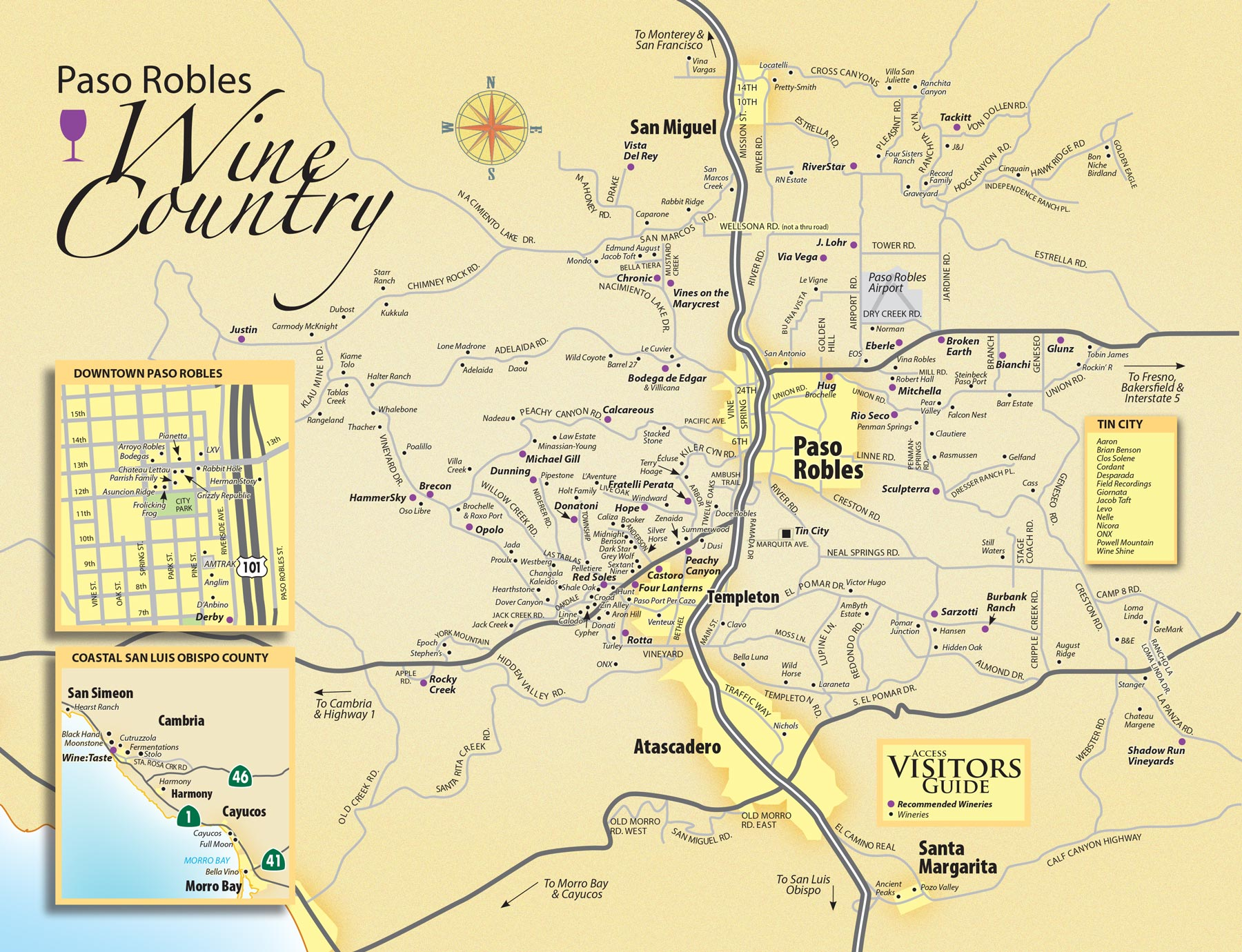 Paso Robles Wine Tasting Map Paso Robles Daily News - Us wine regions map