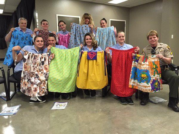 Inmates involved with the Women's Honor Farm Sewing Program along with the Program's Coordinator Senior Correctional Deputy Lisa Piotrowski.