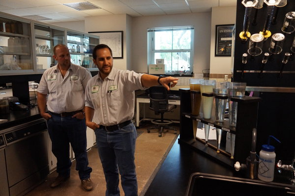 Laboratory Analyst Vince Gaita and Laboratory Manager Mark Scandalis show what they do in the laboratory at the Wasterwater Treatment Plant.