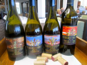 Lineup of Ascension Cellars wine served at lunch.