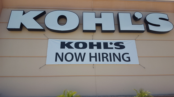 Kohls help wanted sign