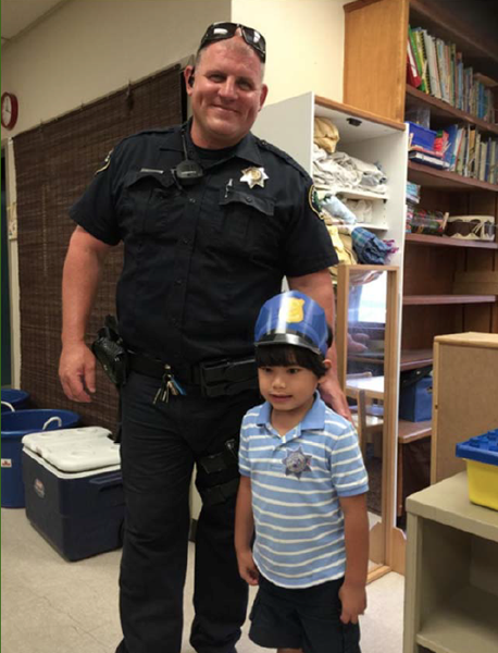 Officer Michael Rickerd and 4-year-old Nathan Flores. Courtesy photos.