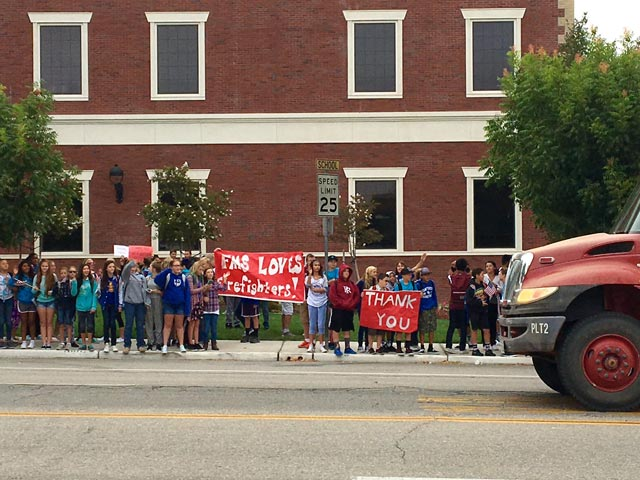 Flamson Middle School students showed their support for firefighters Friday morning. As fire engines drove by, the honked and turned on their sirens.