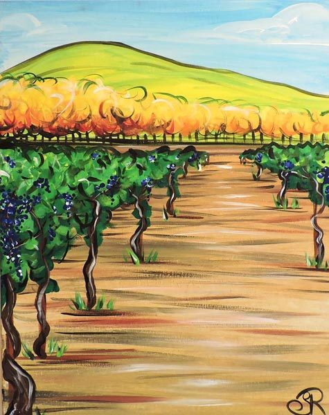 Artist Skye Ravy will offer three fall themed acrylic painting classes through Paso Robles Recreation services including Vineyard Walk, which is featured as the cover of the fall Activity Guide.  Ravy will also teach a December wreath making class using fresh greens.