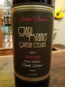 Kramer Guitar Cellars is most proud of their 2013 Syrah.