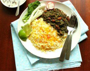 Ghormeh sabzi with saffron rice.