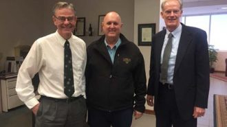 Paso Robles Mayor Steven W. Martin, First District Supervisor-Elect John Peschong, Paso Robles City Manager Tom Frutchey.