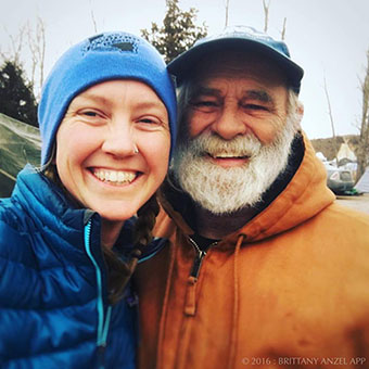 A selfie by Brittany App with Alabama photographer John Wathen at Standing Rock.