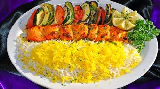 Persian-style chicken shishkabob.