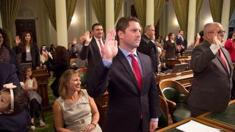 Jordan Cunningham being sworn in as the new Assemblyman for the 35th District.