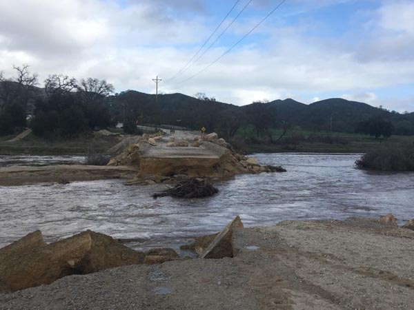 The sand bridge washed out on Halcyon Road in Atascadero. Photo by Trisha Butcher.