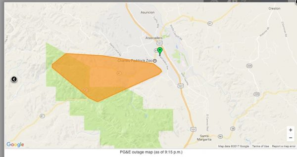 Power Outage In Atascadero Reported Due To Fallen Tree A Town