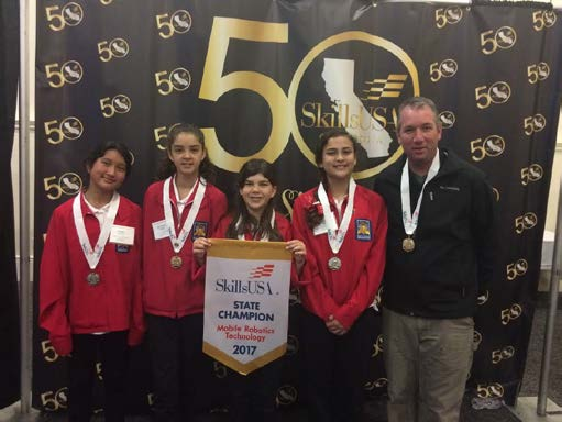 Girlbots from Daniel E. Lewis Middle School with advisor (l to r)- Maria Swing, Natalie Hurd, Julia Hurd, Malia Gaviola, Justin Ward.