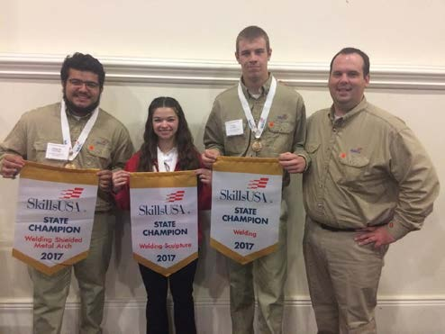 Welding gold medalists with advisor (l to r)- Alfredo Saucedo, Mikayla Stone, Iver Hansen, Justin Pickard.