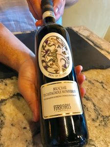 Bottle of Ferraris ruche wine from Piemonte