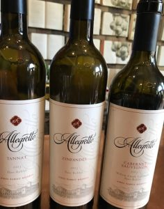 Lineup of Alegretto wines
