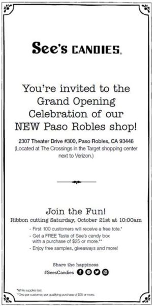 see s candies giving away free candy for grand opening paso robles
