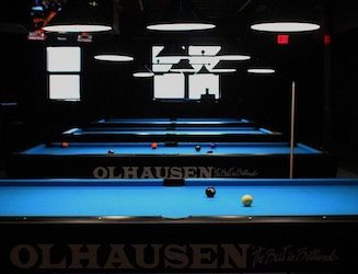 Newly opened Crimson Cue Sports & Billiards Club, Inc. displays Bearcat pride