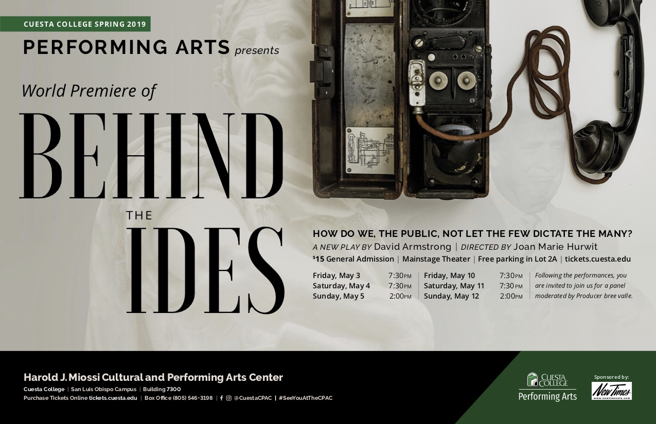 'Behind the Ides' premieres at Cuesta College May 3-12
