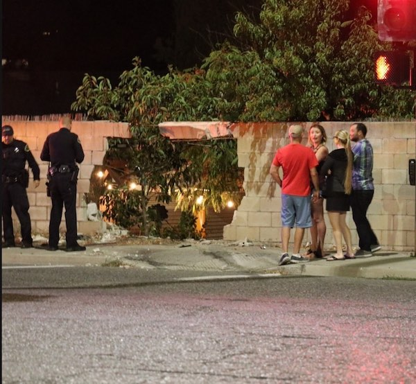 Vehicle crashes through wall at Golden Hill and Creston Road intersection